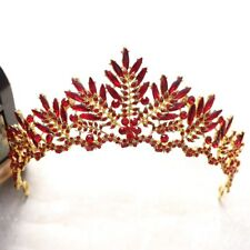 STUNNING GOLD CROWN/TIARA WITH RED CRYSTALS & BEADS, BRIDAL OR RACING