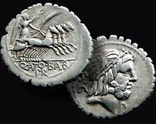 Antonius Balbus 83 Bc. Roman Republic / Silver Denarius / 4 Horse Quadriga + Coa