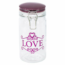 Love Glass Storage Jar 1.1L Ceramic Lid Canister Container Pasta Flour Biscuit