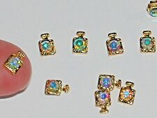 5 Miniature dollhouse little Gold plated crystal Perfume flatbacks bottle charm