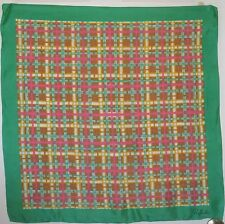 """TERRIART Green, Pink, Gold Plaid Silky 29"""" Square Scarf-Vintage"""