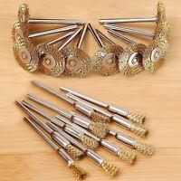 10X Flat/Cup Mini Brass Wire Wheel Drill Rotary ToolPolishing Brushes Set Dlxy