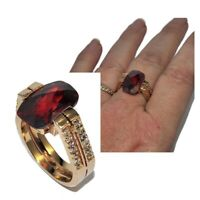 Belle bague en plaqué or 18 carats zirconium rouge et blanc T 56 bijou