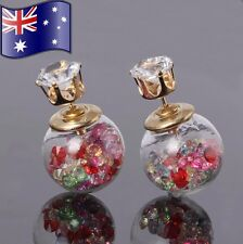 Multicolour Crystal Filled Double Side Glass Orb CZ Gold Stud Earrings XMAS Gift
