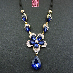 Dark Blue Crystal Jewelry Water Drop Flower Betsey Johnson Pendant Necklace