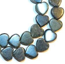 """NG1883f Green Marble 10mm Flat Heart Natural Gemstone Beads 15"""""""