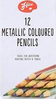 12 x 12 Pieces Artists Metallic Colour Pencils With Tin Box - Brand New