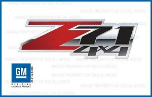 set of 2: 2007 - 2013 Chevy Silverado Z71 4x4 Decals - FSCFR - Carbon Fiber Red