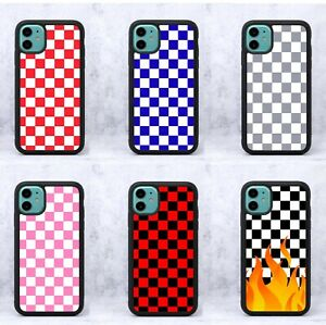 FC Rubber Flame Red Pink Blue Grey Check Checkered Phone Case/Cover For iPhone