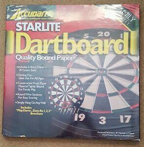 Accudart Starlite Dartboard Quality Bound Paper Game Set with 6 Brass Darts