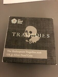 Great Britain 2016 Shakespeare Tragedies 2 Pound Silver Proof Box and COA
