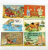 Vintage Lustercomics Post Cards 1940 Funny Whimsical Set of 6