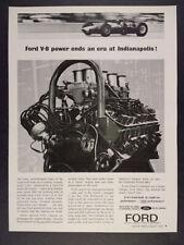 1963 Ford V8 Engine Lotus Indy Car photos vintage print Ad