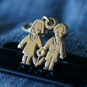 *Retired* James Avery 14k Gold LOVE IS Boy & Girl Charm