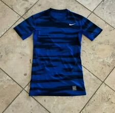 Men's Nike Pro Combat Dri Fit Blue Black Short Sleeve Compression Shirt Size M