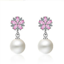 Silver Pink Zircon Sakura Short Pearl Stud Earrings For Girls Women Temperament