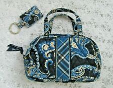 VERA BRADLEY SMALL BAG & PICTURE KEY FOB, Windsor Navy Quilted Cotton, EUC