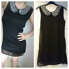 New Look black silver sparkle beaded shift sheer dress uk size small s 6 8 10