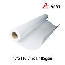 "A-SUB 17""x110' 34m Dye Sublimation Paper Roll Heat Press Transfer Cotton Fabric"