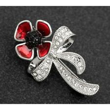 Equilibrium Silver Plated Poppy Heart Brooch 69148