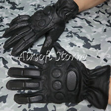 Airsoft SWAT Tactical Gear Full Finger Assault Combat Leather Gloves Black