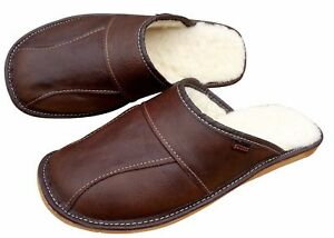 Men's Sheepskin Slippers Brown Wool Leather House Shoes Size 6.5-11 Scuffs Mules