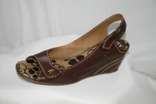 Fly London Drive Brown Leather Wedge Sandals Shoes Size 5