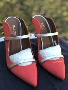 MALONE SOULIERS MULES CORAL/SILVER SIZE 37 - NEW!