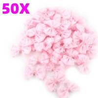 50PCS Mini Satin Lace Ribbon Flowers Bows Gift Craft Wedding Decoration Set