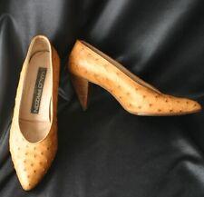 Maud Frizon Ostrich Skin Stacked Heel Pump 80s 7.5