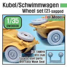 DEF. MODEL,  WWII Kubel/Schwimmwagen Wheel set (2) (for Tamiya), DW30038, 1:35