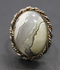 Adjustable Sterling Silver White & Gray Oval Agate Stone Ring