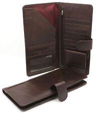 Bifold Brown Genuine Leather Large Travel Passport Snap Button Wallet w/ Zipper