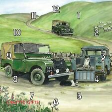 Land Rovers on hillside by Sue Podbery Handmade Wall Clock