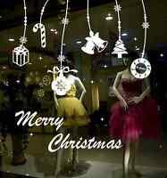 Merry Christmas Happy New Year Gift Tree shop window / wall stickers UK RUI18