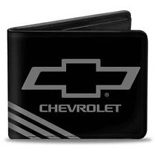 Men Wallet Bifold Chevrolet Silverado Malibu Cruze 3 Stripe Black Charcoal