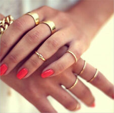 7Pcs/Set Vintage Gold Boho Heart Midi Finger Finger Knuckle Rings Band Jewelry