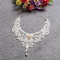 White Lace Pearl Choker Women Victorian Steampunk Gothic Collar Bride Necklace