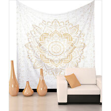 Wall Decor Hippie Mandala Tapestry Bedspread Wall Hanging  Gold Print  White