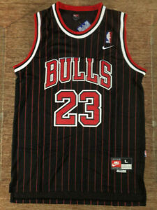 Michael Jordan #23 Chicago Bulls Men's Pinstripe Black Throwback Stitched Jersey
