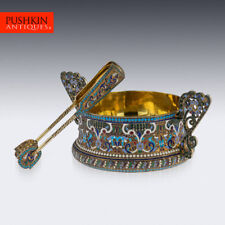 More details for antique 20thc imperial russian solid silver & enamel sugar bowl & tongs c.1910