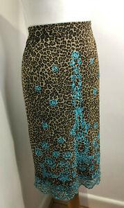 Vintage Y2K 90s Karen Millen animal print mesh beaded embroidered skirt 12 14 VG
