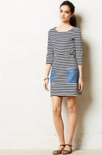 Anthropologie Tabitha Size 4 Marin Dress A-Line Navy Stripe Chambray Pockets