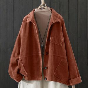 Women Corduroy Jacket Coat Top Retro Outwear Cardigan Shirt Casual Bomber