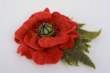 Handmade Flower Brooch Wool Felting Technique Large Beautiful Accessory