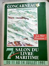Affiche originale Jean Le Merdy Marine Concarneau 1991 Peintre de marine POM Art