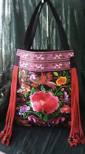 Beautiful Multi-Color Embroidery Design*Tassel*Beaded Asian Style Tote Sz XL