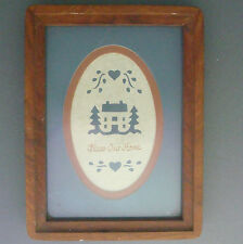 laser cut parchment Bless Our Home pennsylvania dutch 1970s framed hardwood