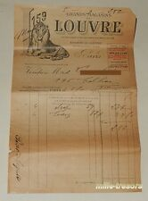 Ancienne FACTURE de Novembre 1924 GRANDS MAGASINS du LOUVRE Draps et Taies