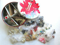 Huge lot vintage buttons 1940's to 1960's w christmas tin crafts all colors